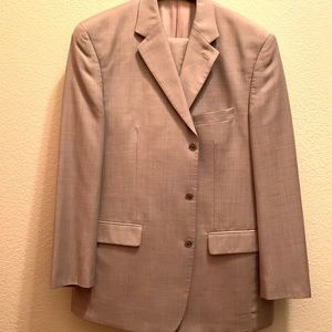 Calvin Klein wool dress suit 42R Sand Taupe